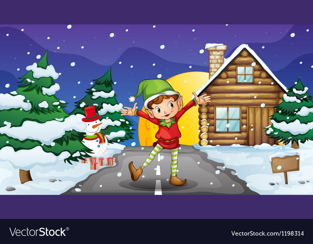 An elf enjoying the snow vector | Price: 1 Credit (USD $1)