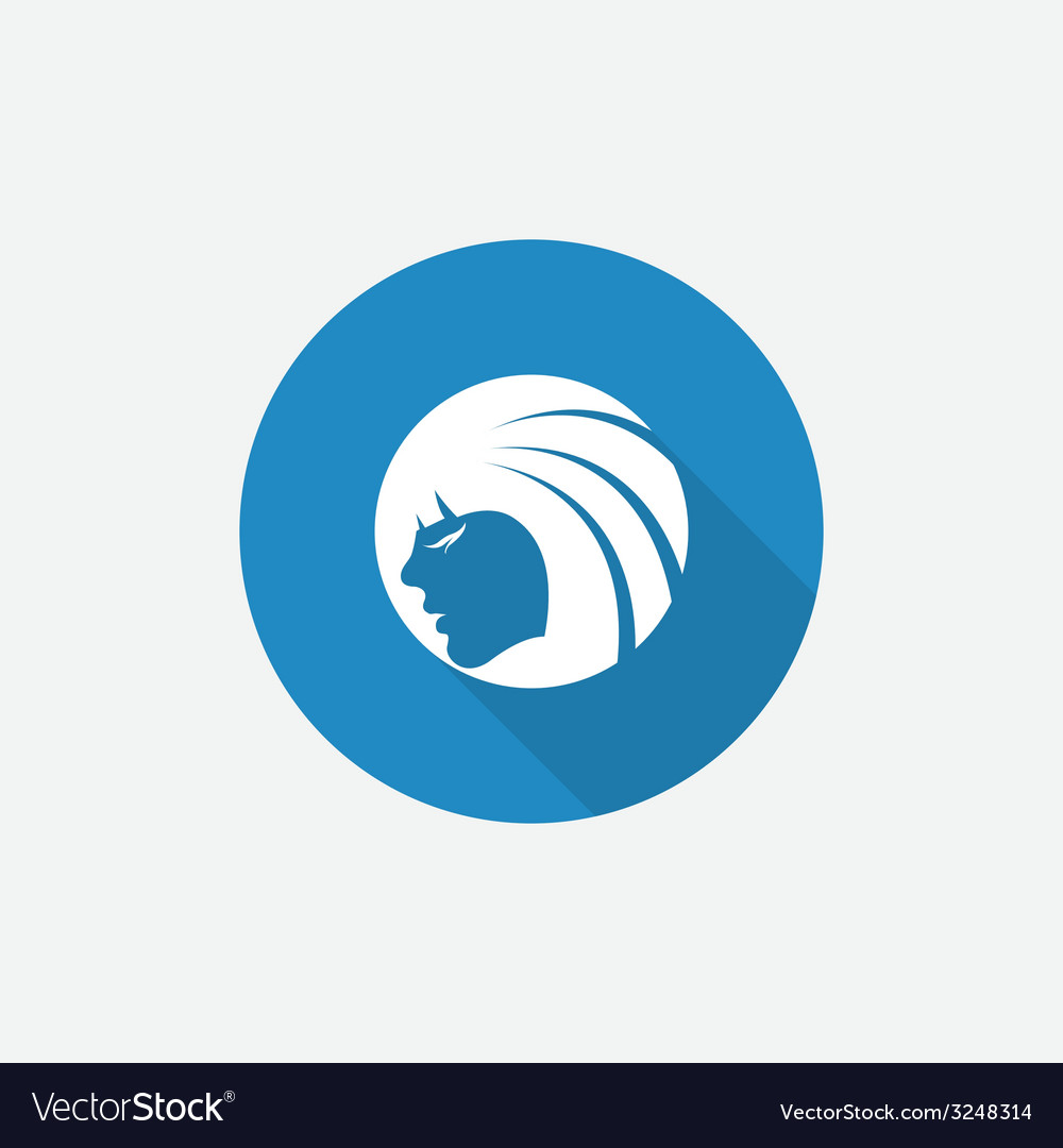 Beauty girl face flat blue simple icon with long vector | Price: 1 Credit (USD $1)