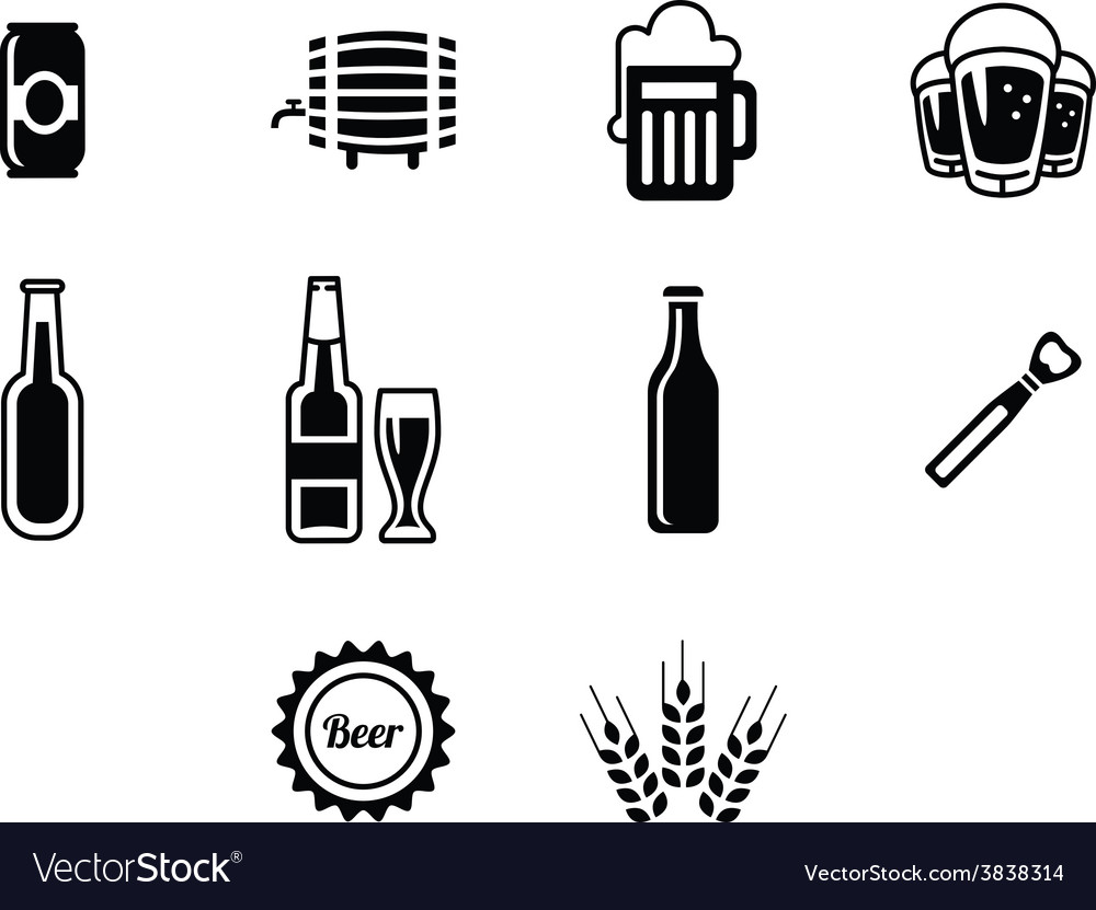 Black beer icons set vector | Price: 1 Credit (USD $1)