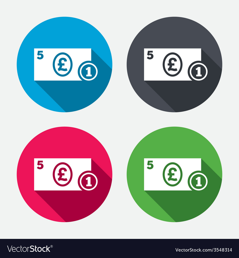 Cash sign icon pound money symbol coin vector | Price: 1 Credit (USD $1)
