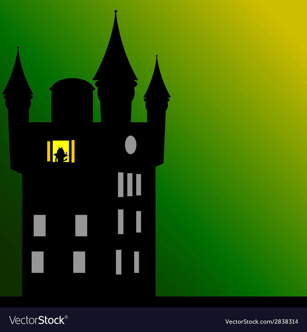 Castle with dark green background vector | Price: 1 Credit (USD $1)