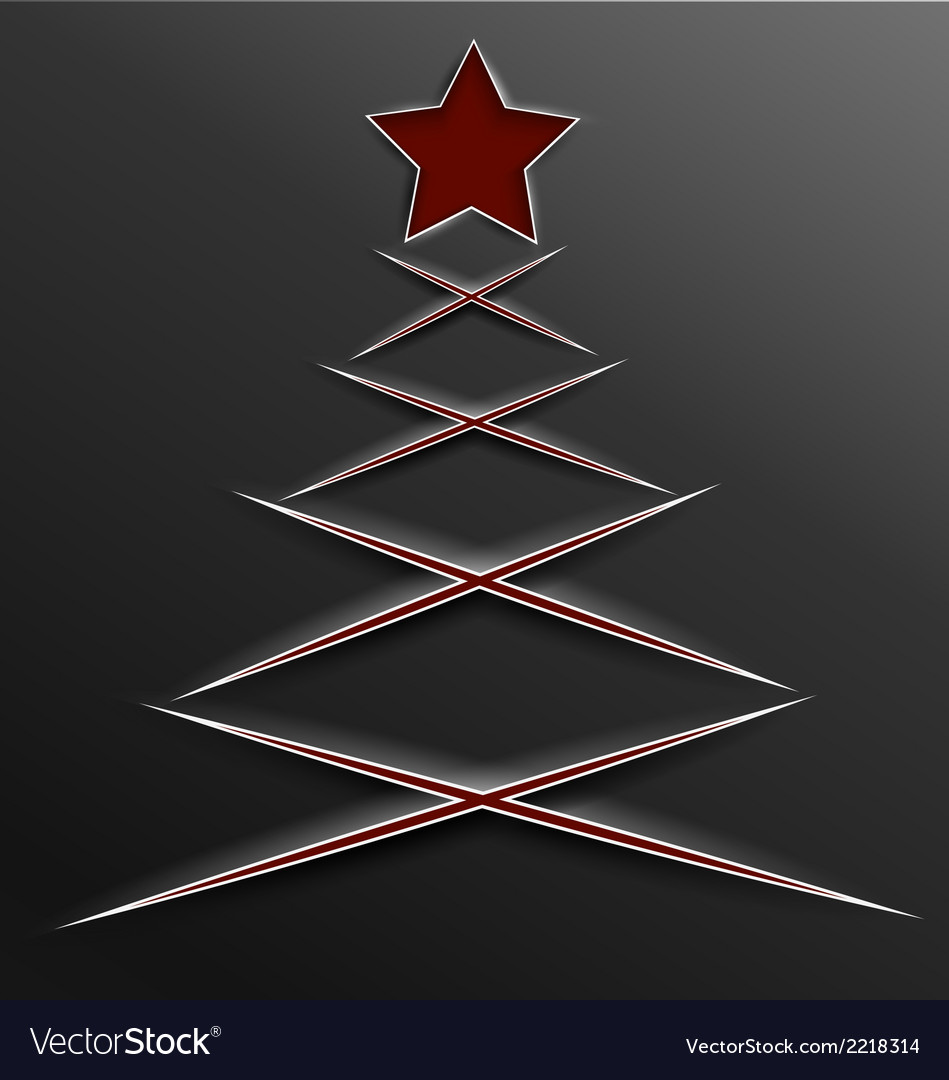 Christmas tree paper cut lines cross vector | Price: 1 Credit (USD $1)