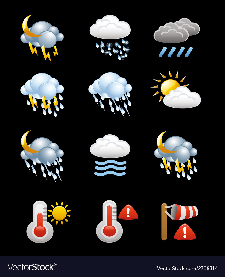 Collection of weather icons and symbols vector | Price: 1 Credit (USD $1)