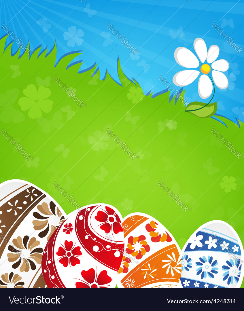 Easter eggs and flower vector | Price: 3 Credit (USD $3)