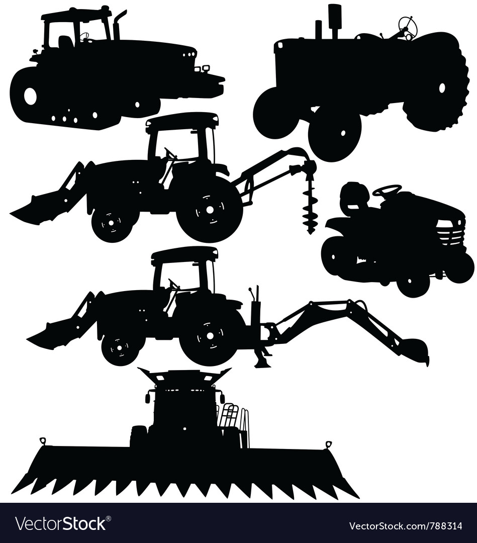 Farm equipments silhouettes vector | Price: 1 Credit (USD $1)