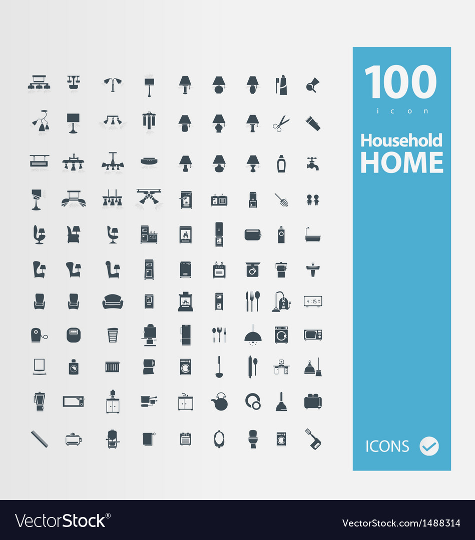 Home  household icon set vector | Price: 1 Credit (USD $1)