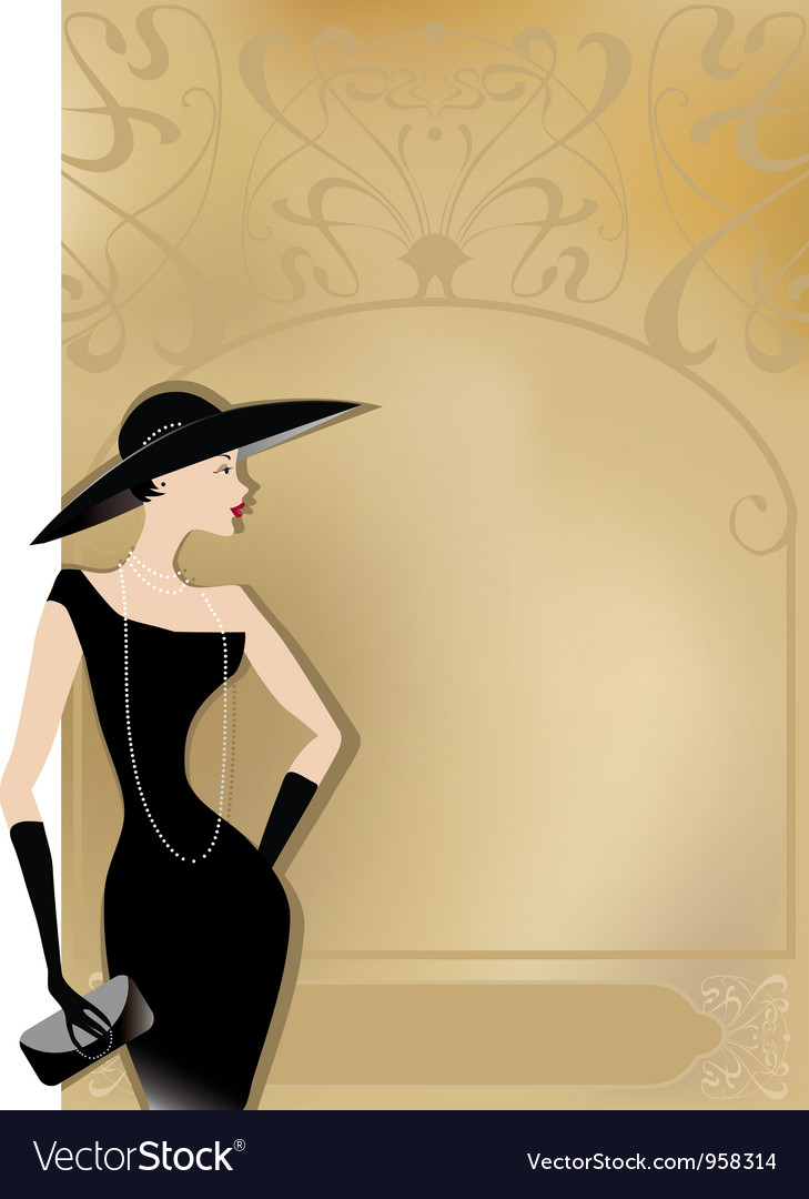 Lady in black at vntage poster vector | Price: 1 Credit (USD $1)