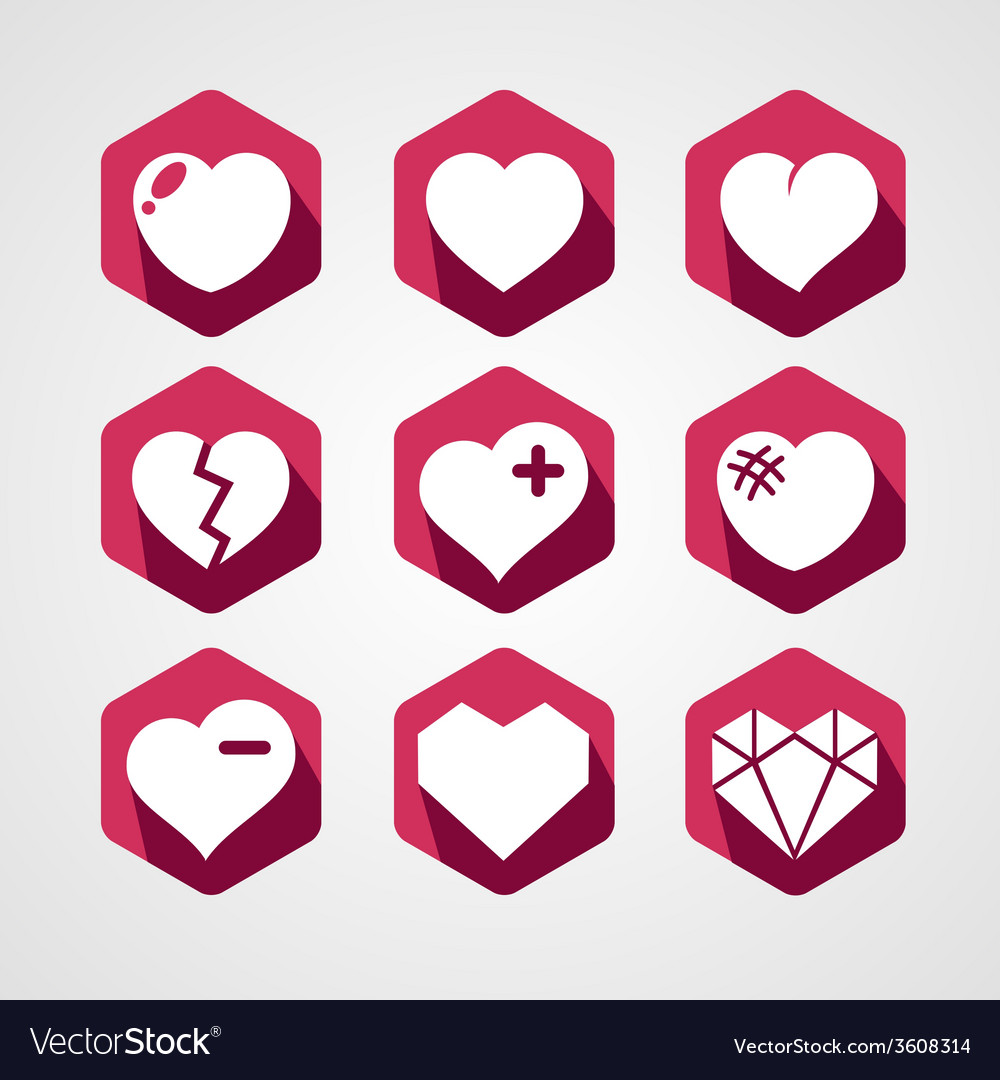 Set of love signs 9 hearts icons vector | Price: 1 Credit (USD $1)