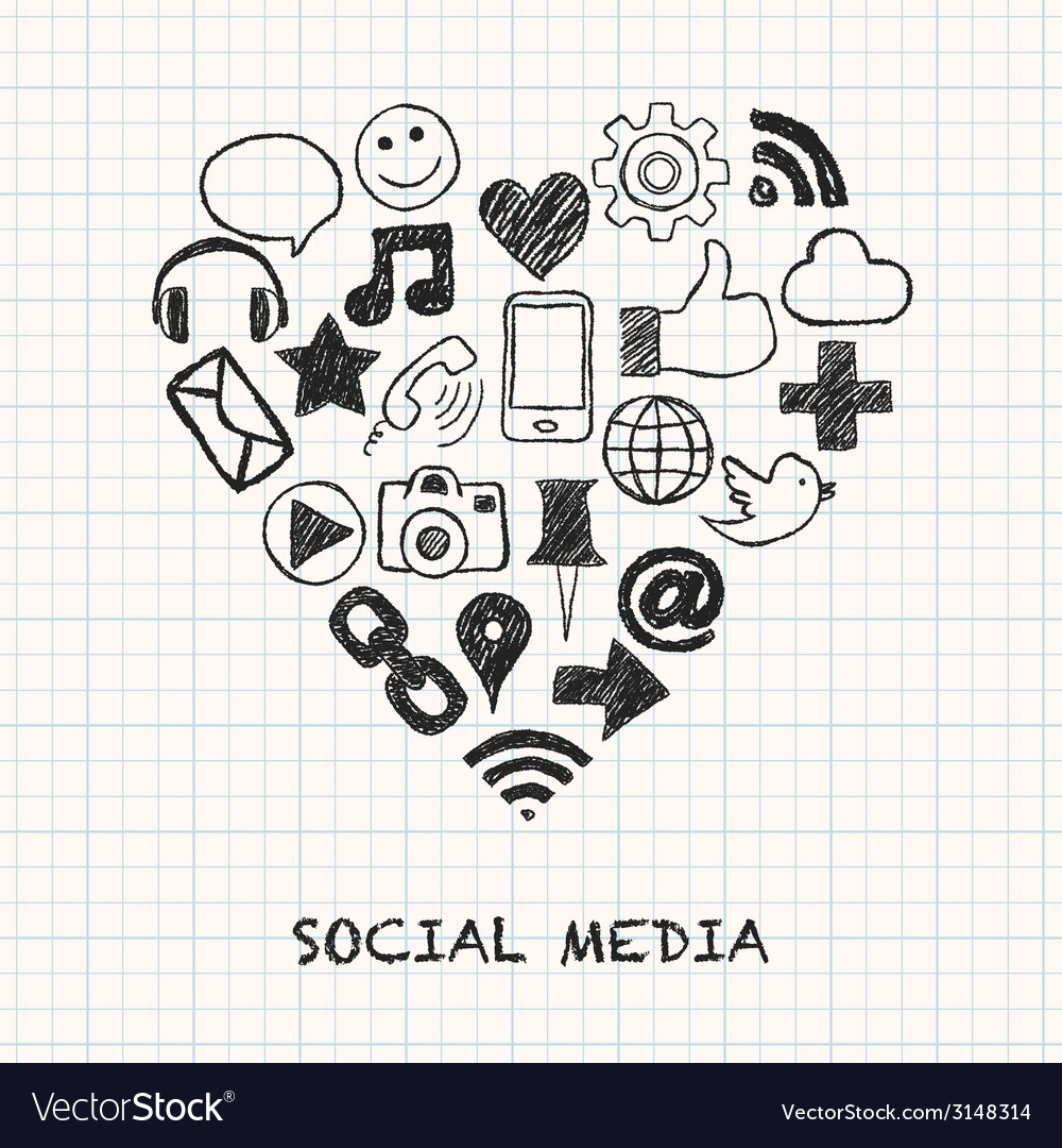 Social media icons in heart shape vector | Price: 1 Credit (USD $1)