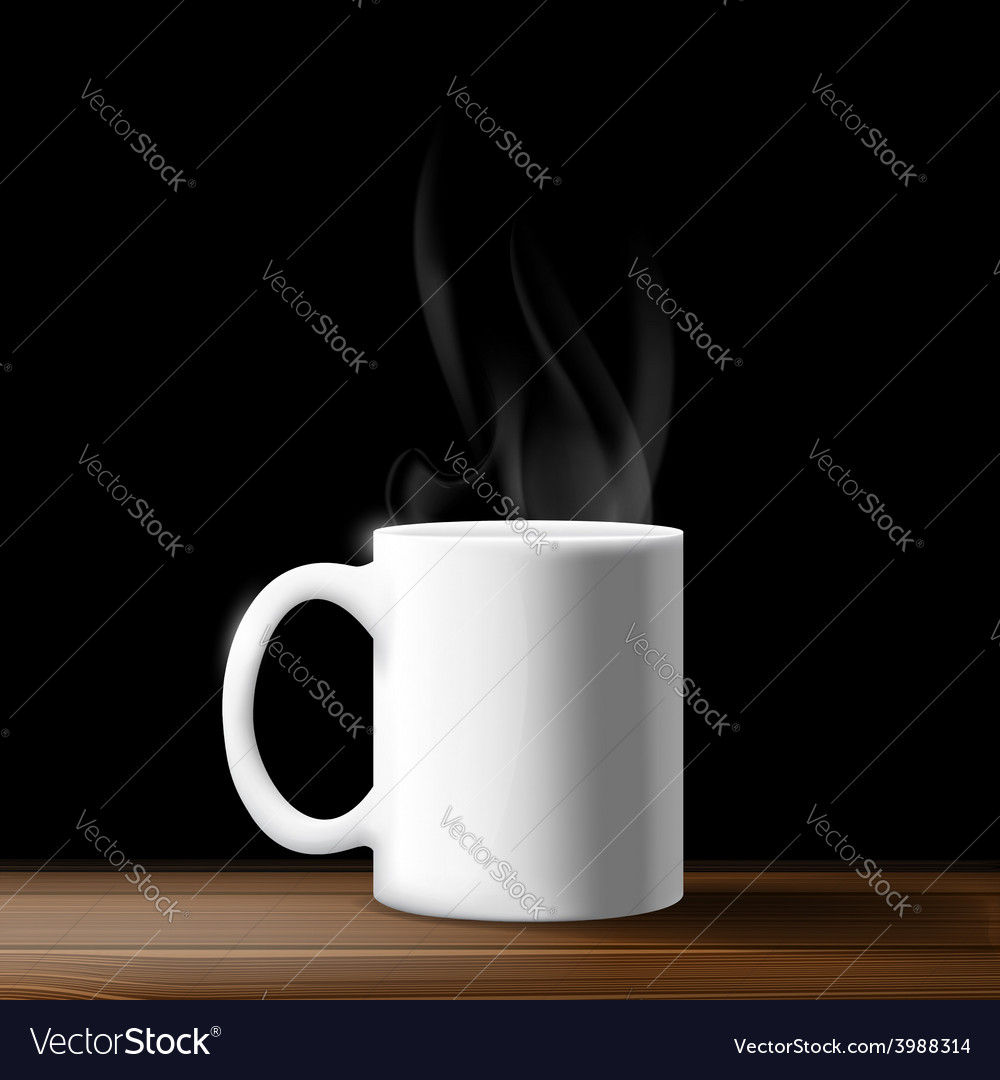 White mug on a wooden table vector | Price: 1 Credit (USD $1)