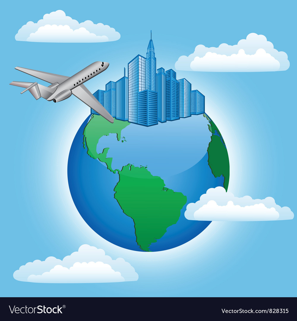 Background with plane and earth vector | Price: 1 Credit (USD $1)