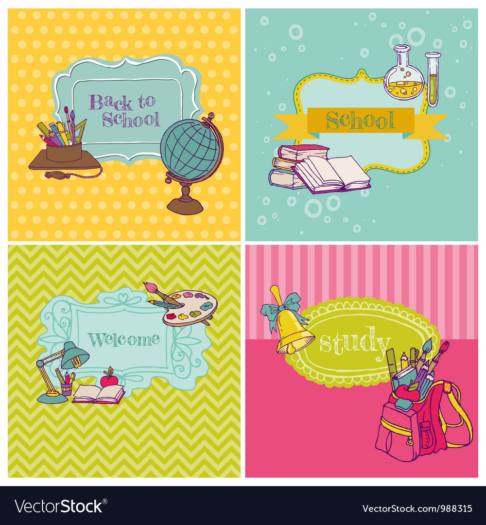 Card collection - back to school vector | Price: 3 Credit (USD $3)