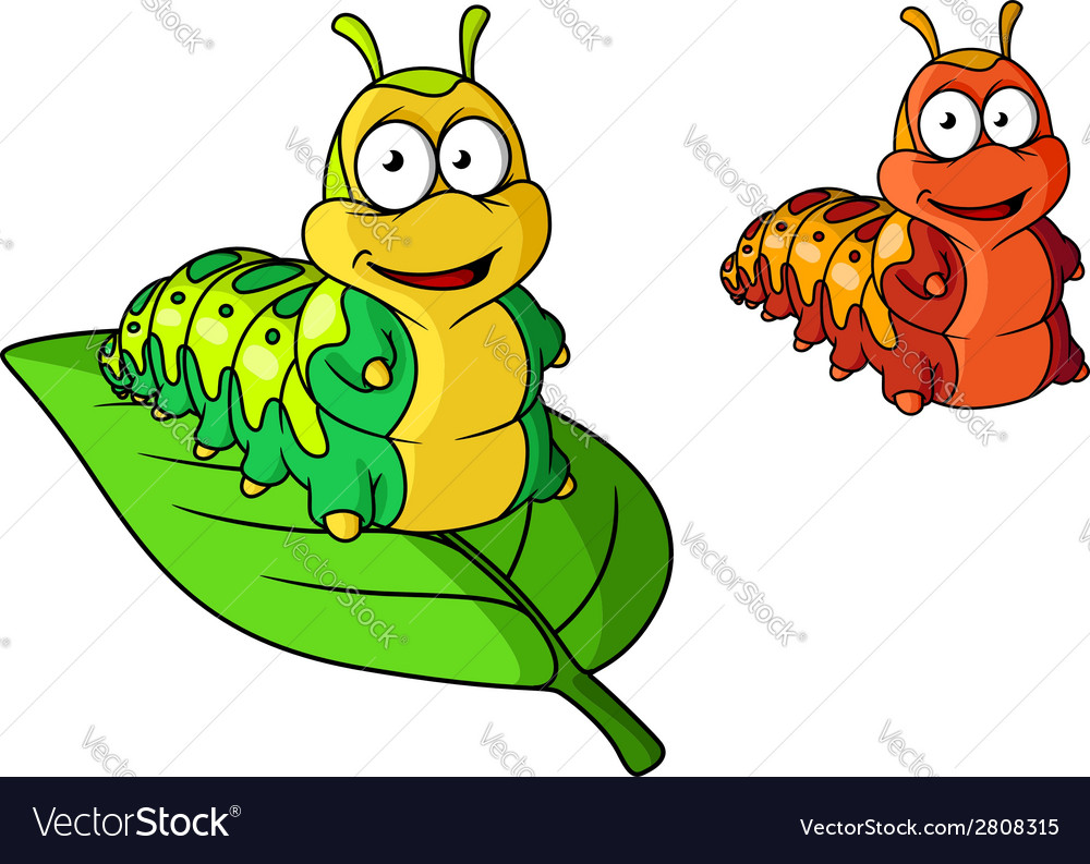 Cartoon cute caterpillar character vector | Price: 1 Credit (USD $1)