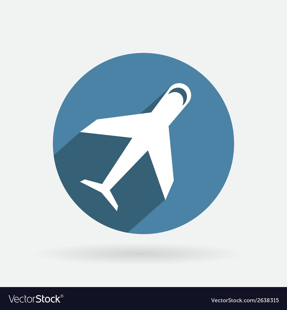 Circle blue icon with shadow airplane vector | Price: 1 Credit (USD $1)