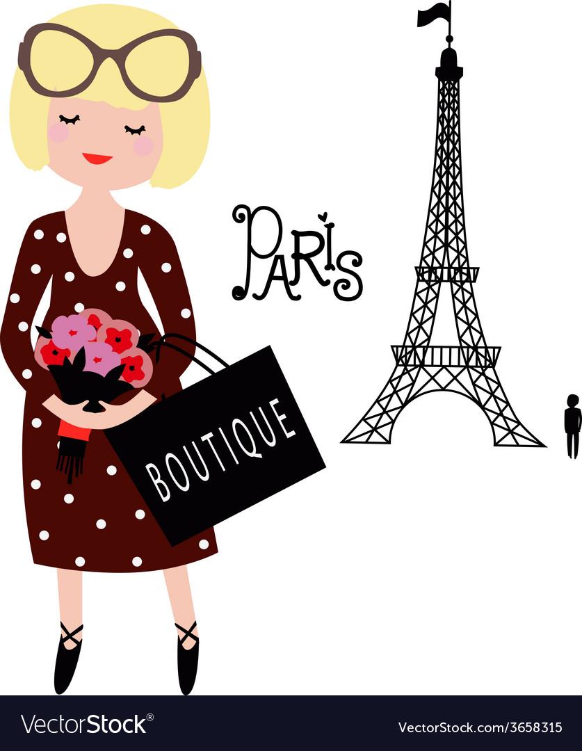 The girl in paris vector   Price: 1 Credit (USD $1)