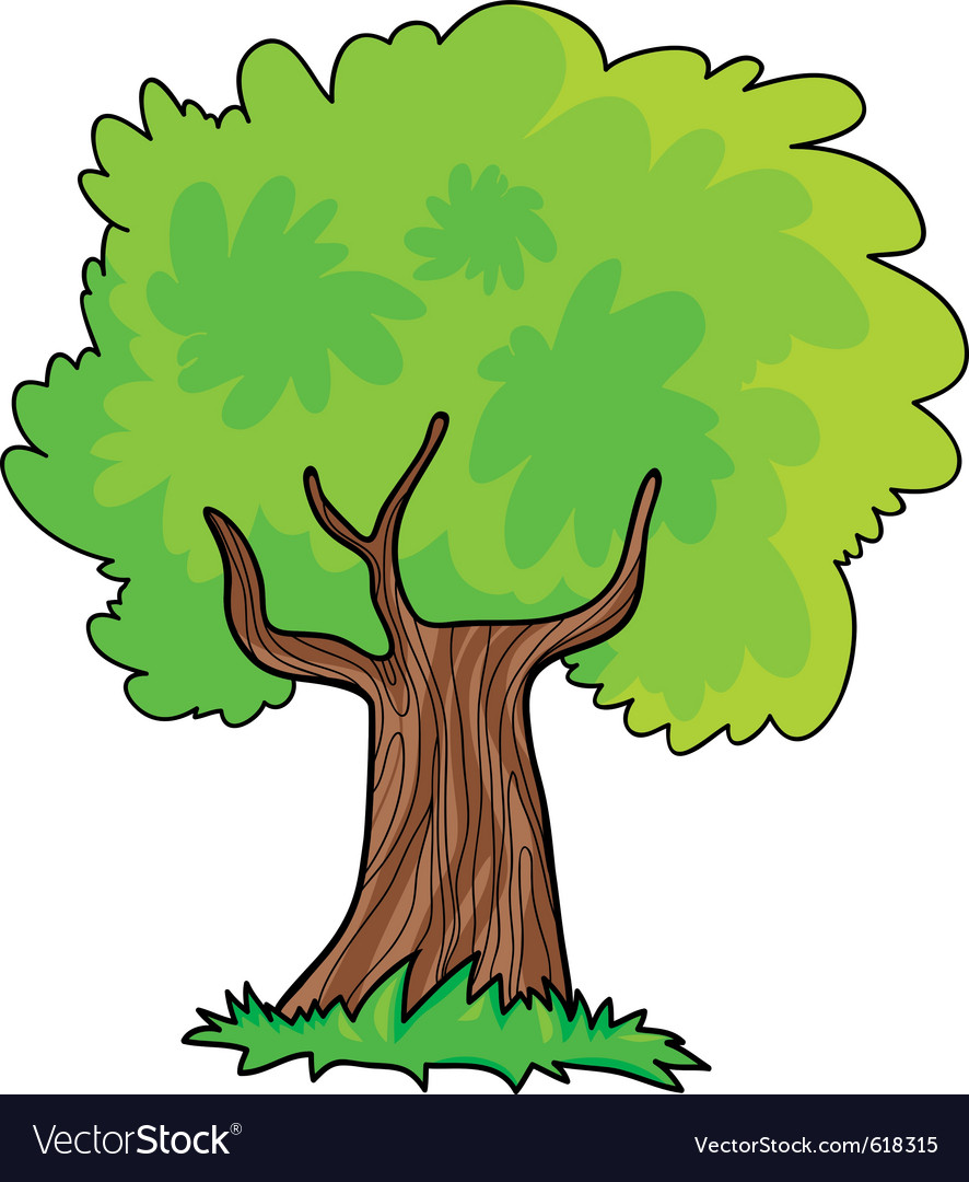Green tree cartoon vector | Price: 1 Credit (USD $1)