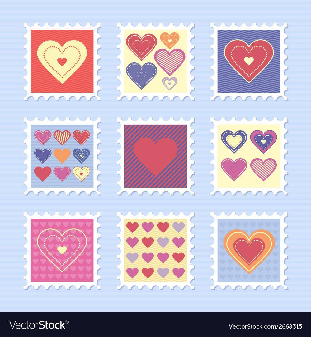Happy valentines day stamps vector | Price: 1 Credit (USD $1)