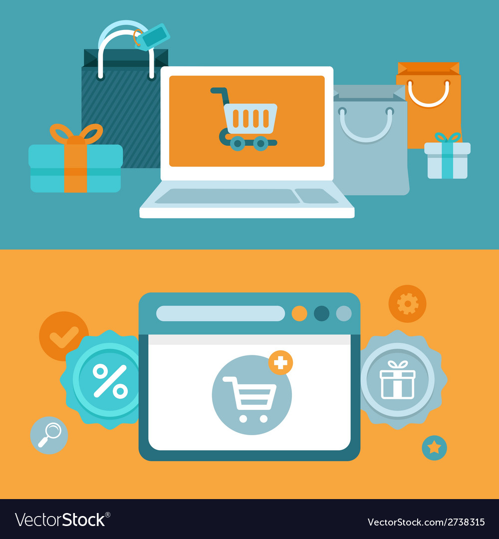 Internet shopping concept in flat style vector | Price: 1 Credit (USD $1)