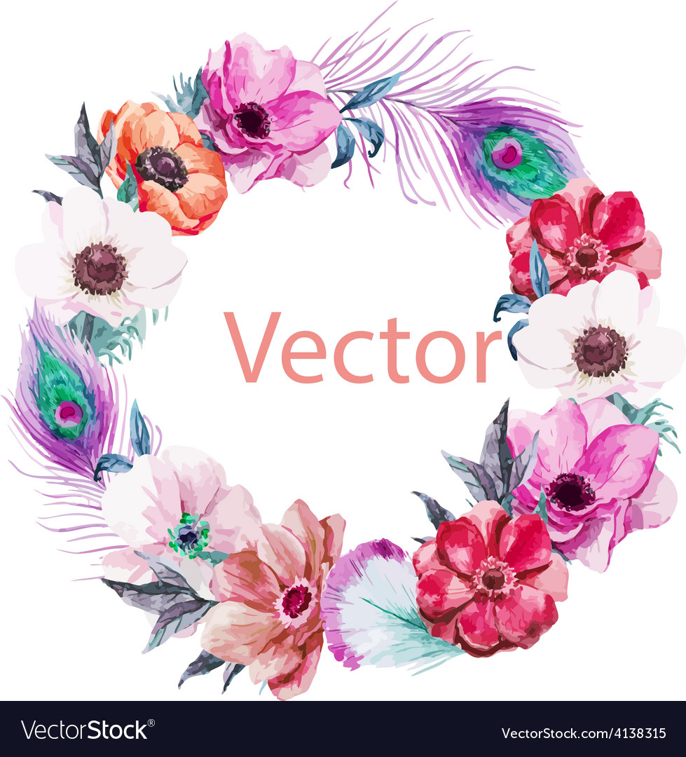 Nice anemones wearth vector | Price: 1 Credit (USD $1)