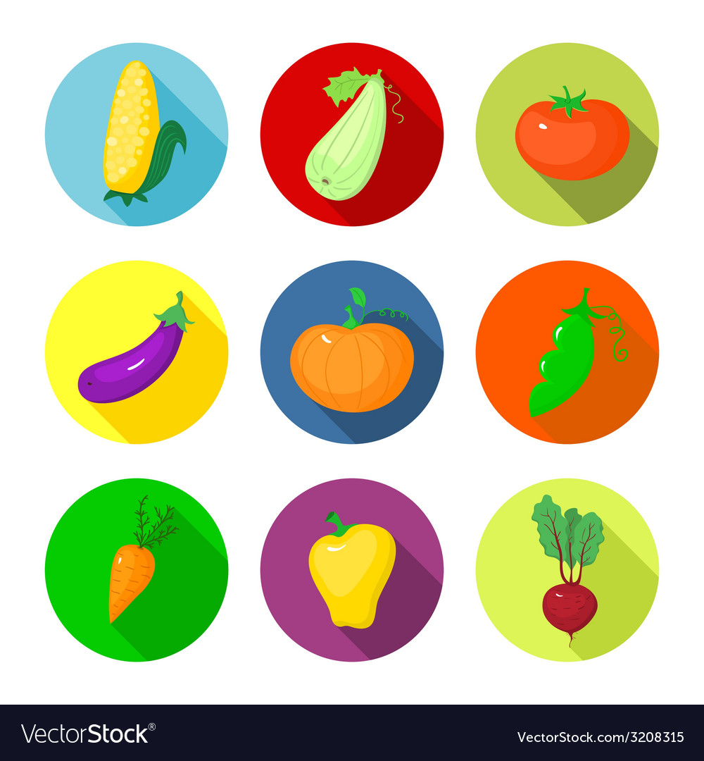 Set round icons with vegetables vector | Price: 1 Credit (USD $1)