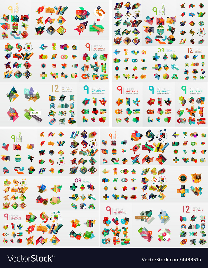 Super mega set of abstract geometric paper graphic vector | Price: 3 Credit (USD $3)