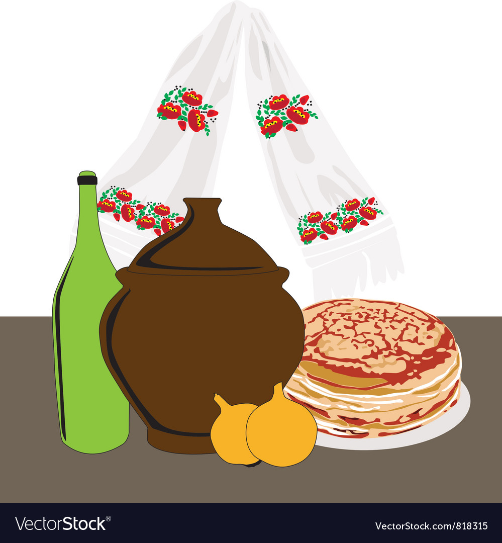 Table with russian cuisine vector | Price: 1 Credit (USD $1)