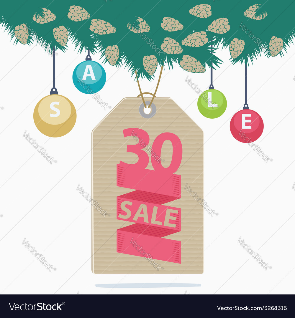 30 percent reduction christmas sale label vector | Price: 1 Credit (USD $1)