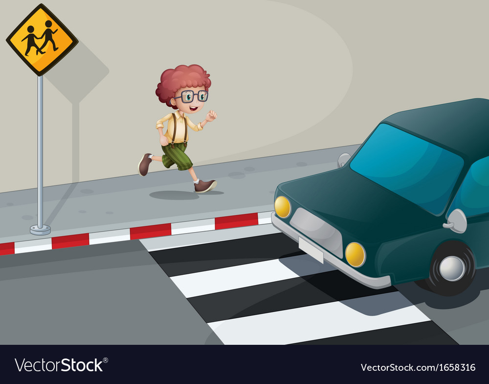 A boy running near the pedestrian lane vector | Price: 3 Credit (USD $3)