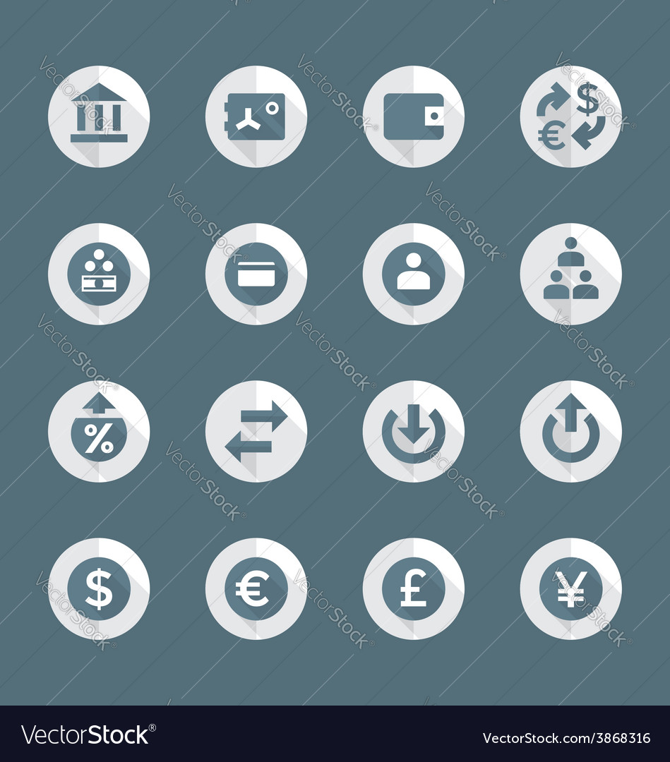 Flat style various financial banking icons set vector | Price: 1 Credit (USD $1)