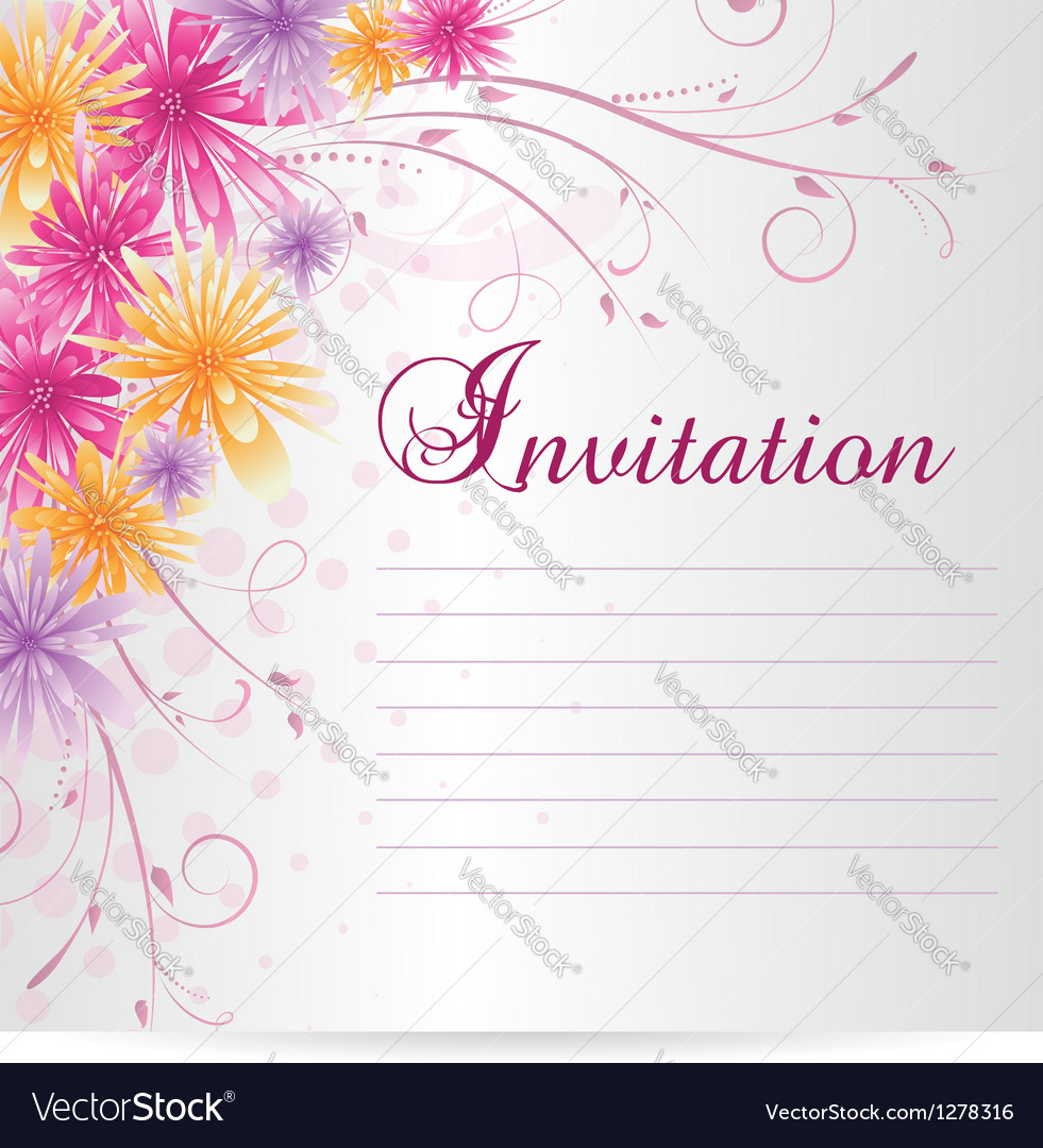 Flower invitation vector | Price: 1 Credit (USD $1)