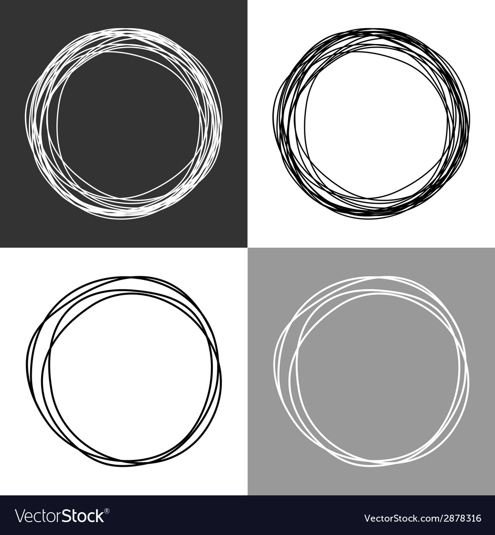 Hand drawn circles design elements vector | Price: 1 Credit (USD $1)