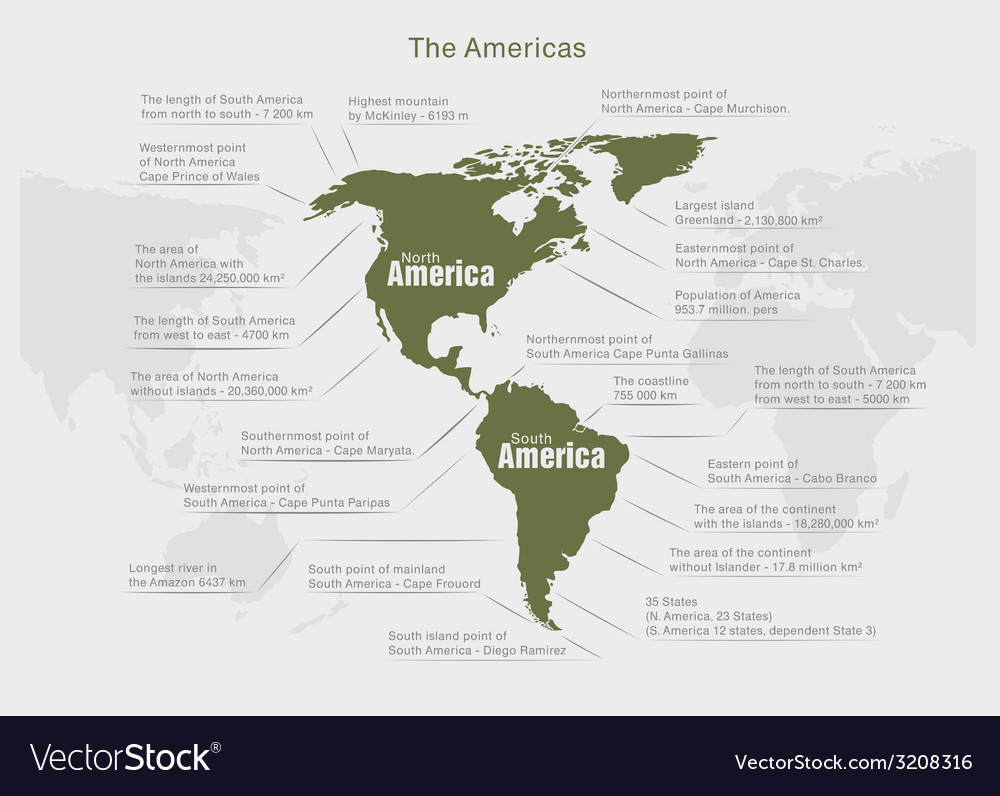 Infographics continent america green and gray vector | Price: 1 Credit (USD $1)