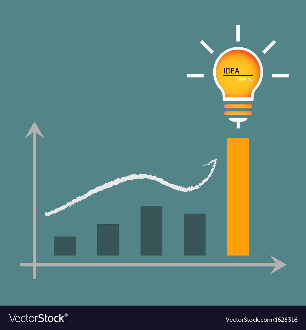Lamp of idea for graphic graph to height vector | Price: 1 Credit (USD $1)