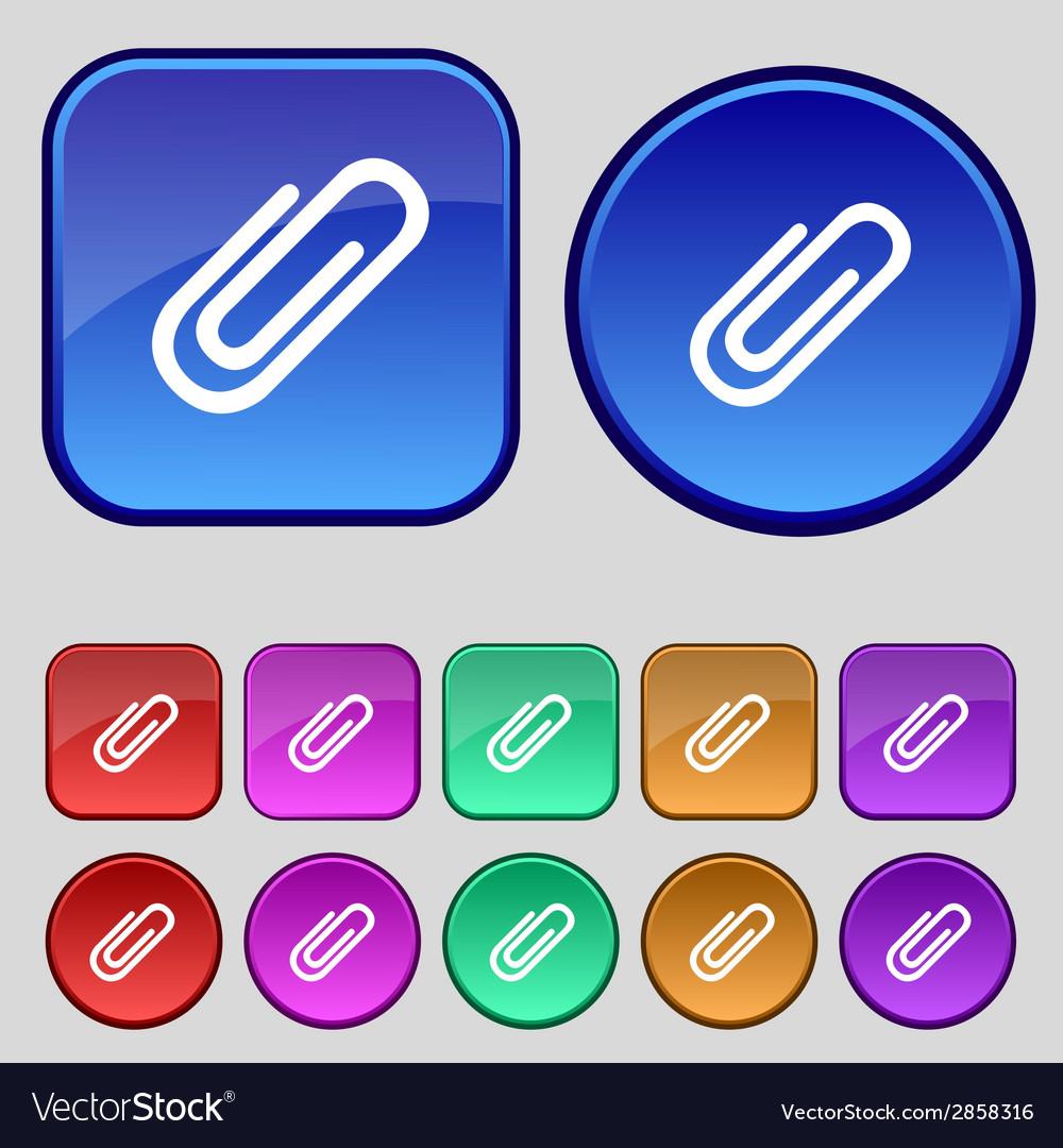 Paper clip sign icon clip symbol set colourful vector   Price: 1 Credit (USD $1)