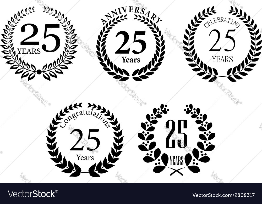 Anniversary jubilee laurel wreaths set vector | Price: 1 Credit (USD $1)