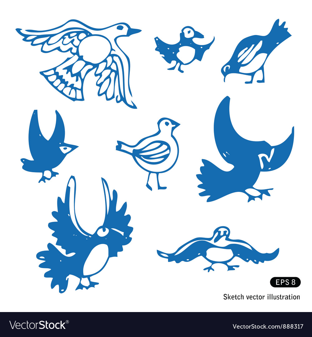 Birds set vector | Price: 1 Credit (USD $1)