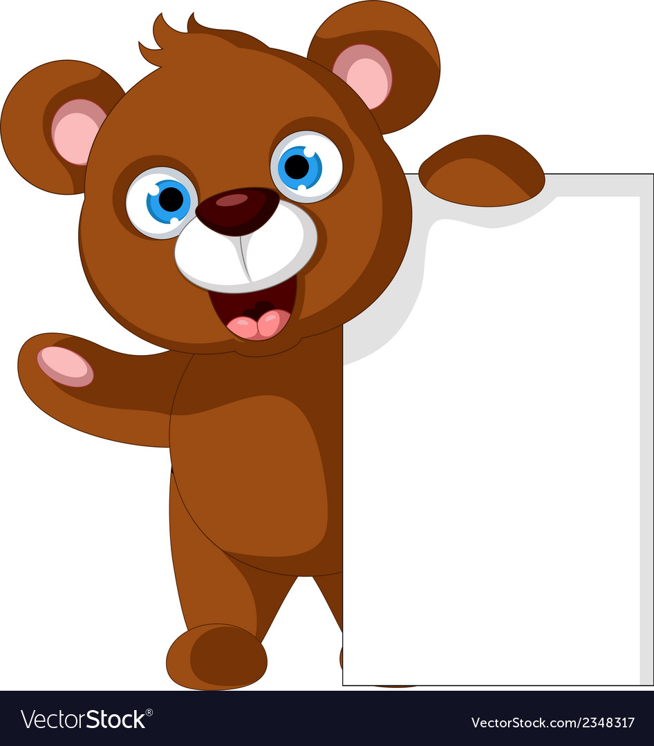 Brown bear cartoon with blank sign vector | Price: 1 Credit (USD $1)