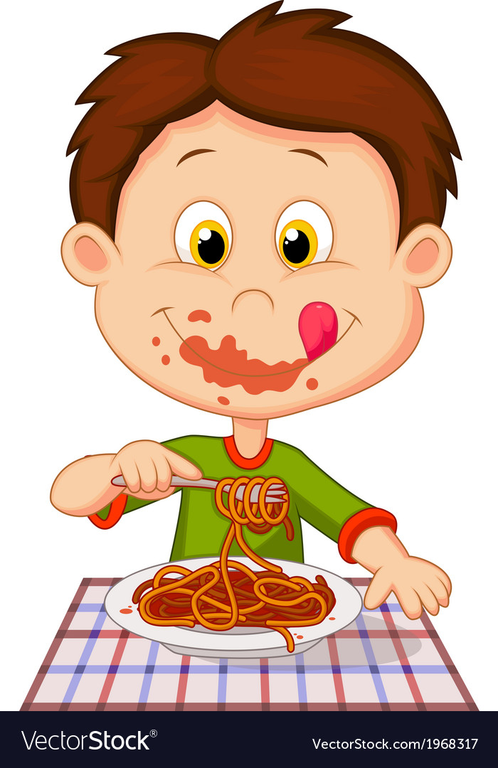 Cartoon boy eating spaghetti vector | Price: 1 Credit (USD $1)