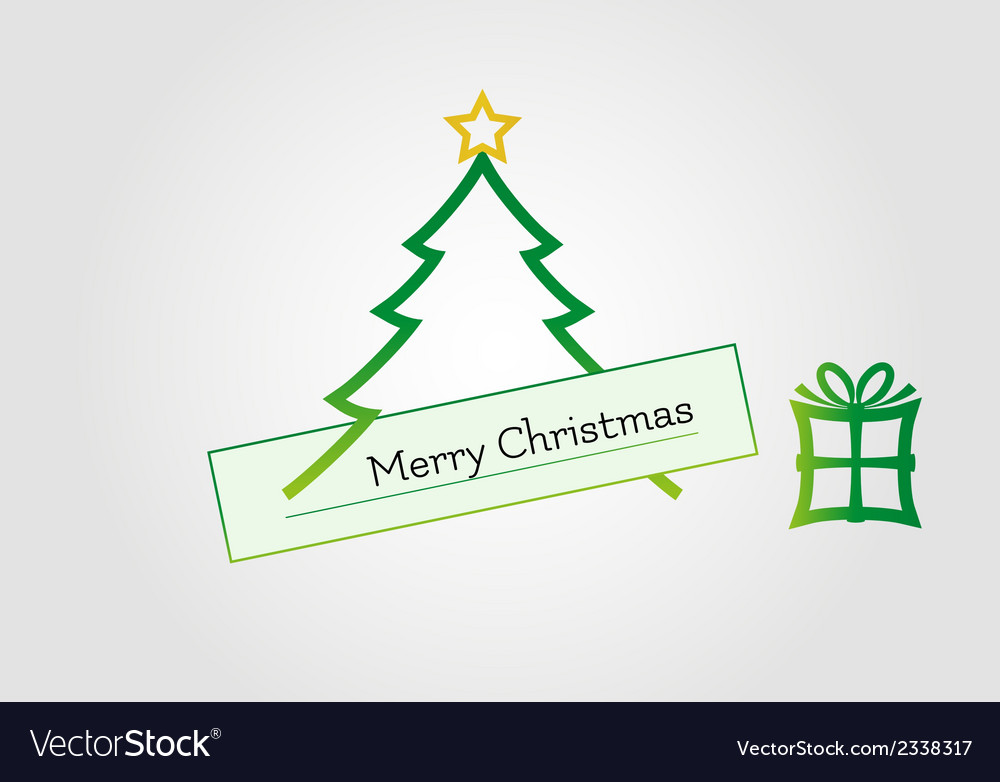 Christmas card with tree star and gift vector | Price: 1 Credit (USD $1)