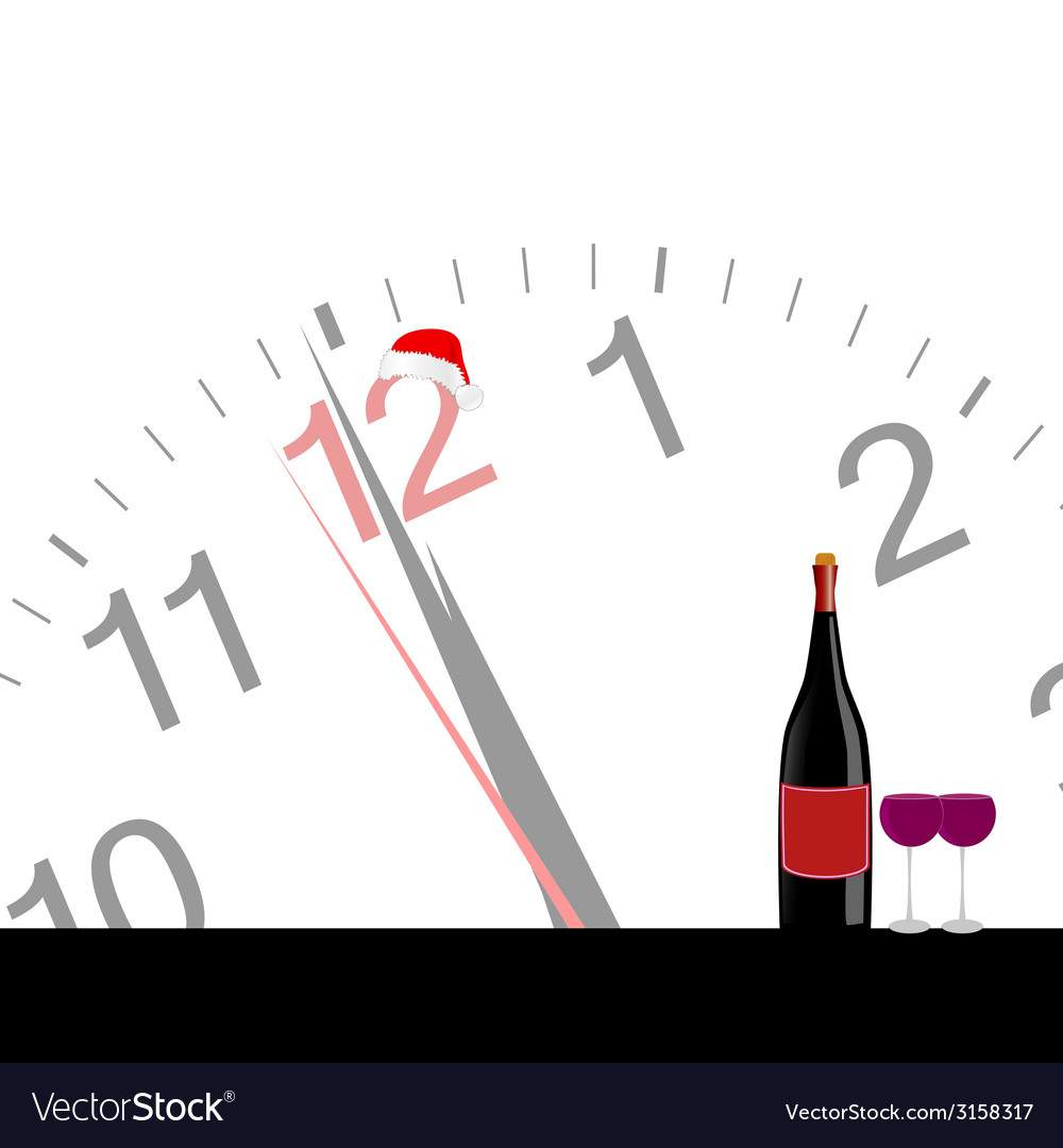 Clock and bottle wine for new year vector | Price: 1 Credit (USD $1)