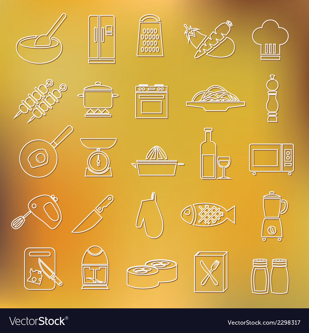 Cooking outline icons vector | Price: 1 Credit (USD $1)
