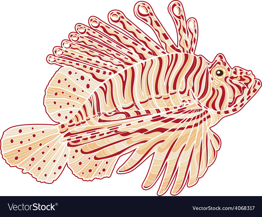 Decorative isolated poison lion fish vector | Price: 1 Credit (USD $1)