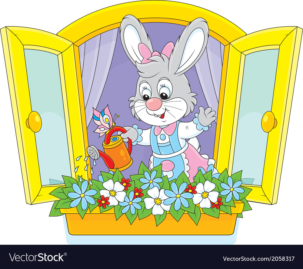Easter bunny watering flowers vector | Price: 1 Credit (USD $1)