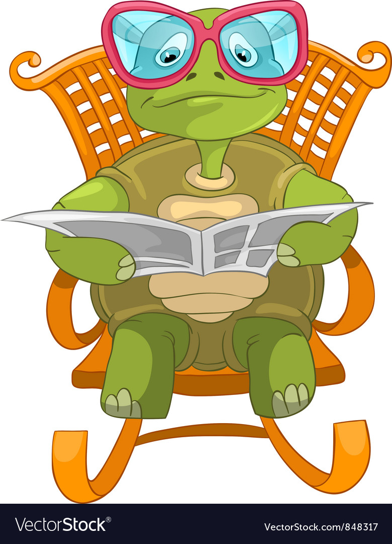 Funny turtle reading vector | Price: 3 Credit (USD $3)