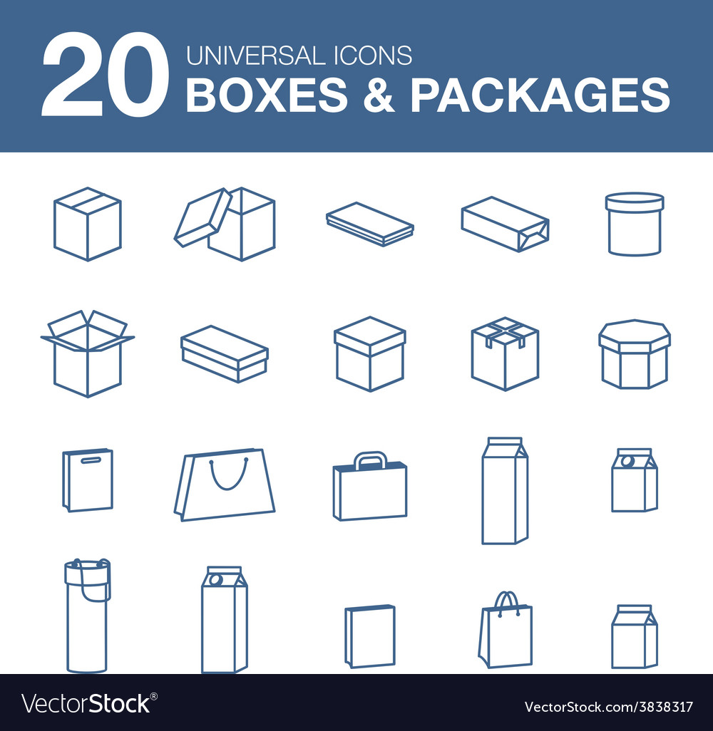 Icons boxes and packaging simple linear style vector | Price: 1 Credit (USD $1)