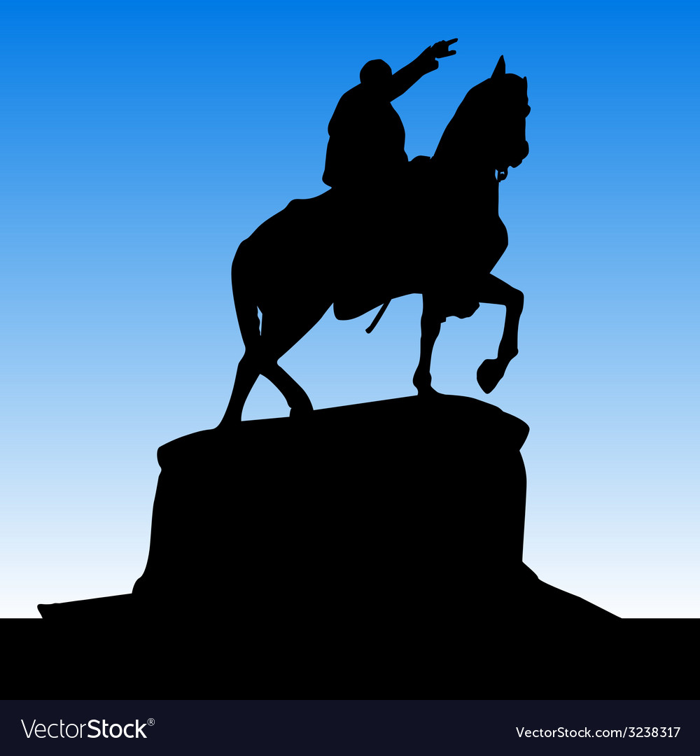 Monument of knez mihailo black silhouette vector | Price: 1 Credit (USD $1)