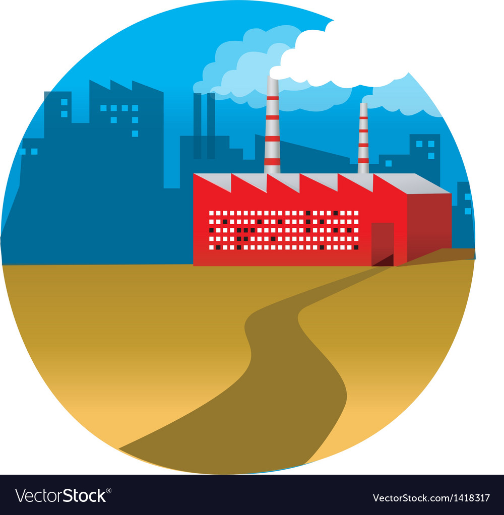 Path leading to a factory vector | Price: 1 Credit (USD $1)