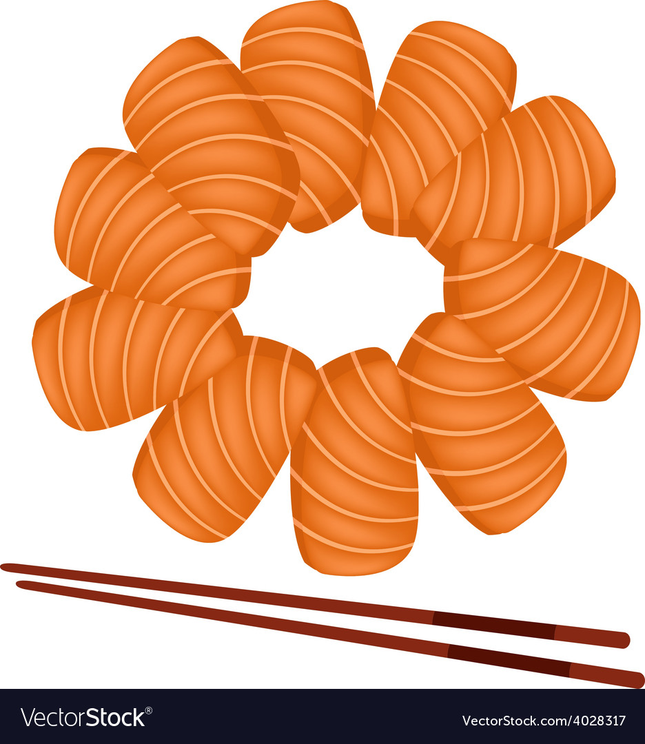 Salmon sashimi with chopsticks on white background vector | Price: 1 Credit (USD $1)