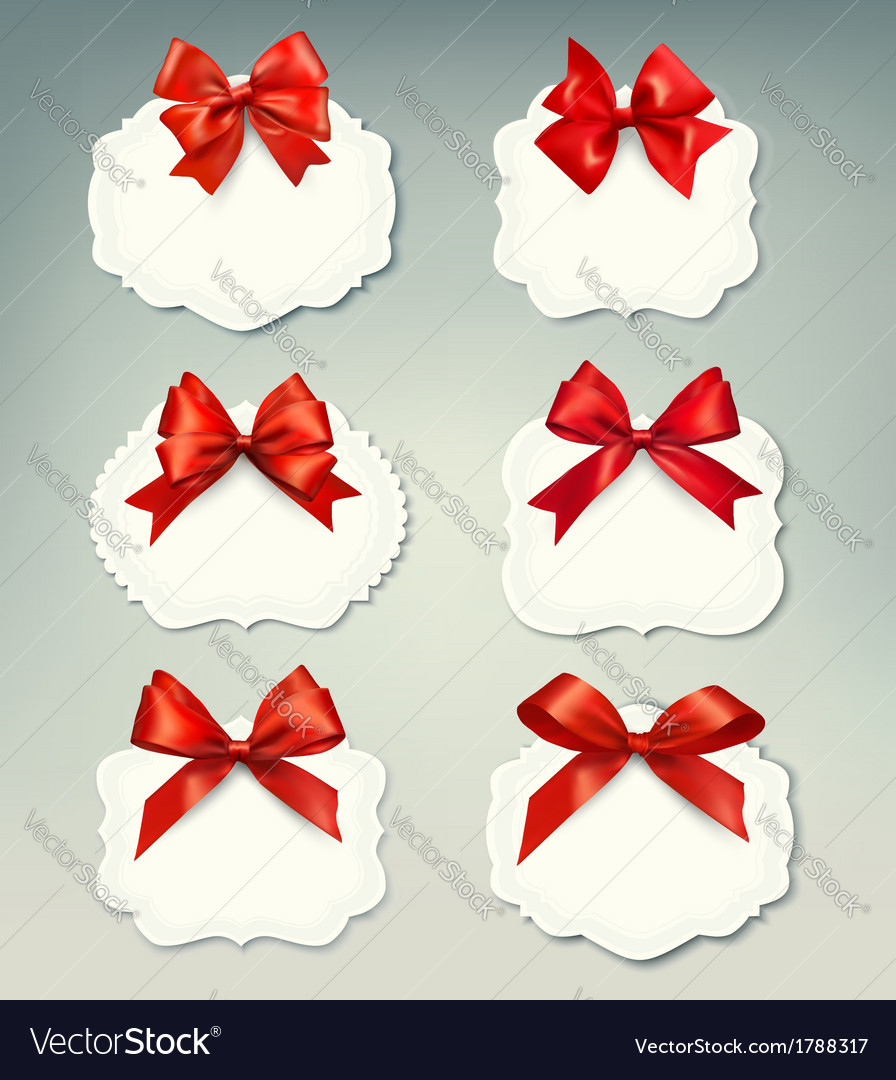 Set of beautiful retro labels with red gift bows vector | Price: 1 Credit (USD $1)