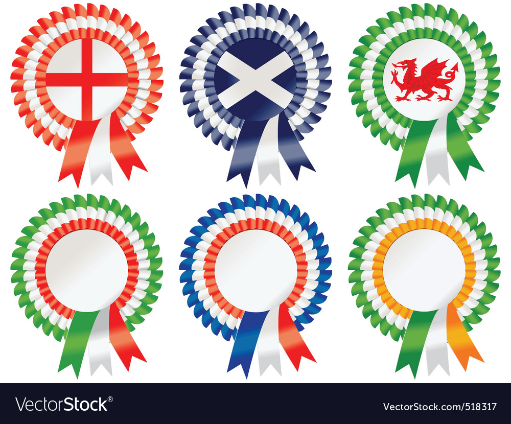 Six nations rosettes vector | Price: 1 Credit (USD $1)